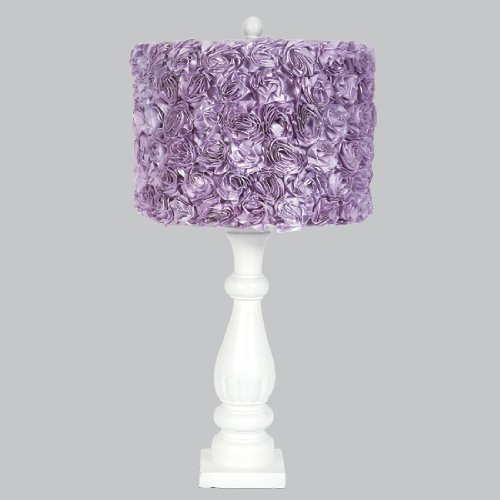Jubilee Collection L71890W-4712 White Shabby Chic Lamp Base with Lavender Rose Garden Drum Shade