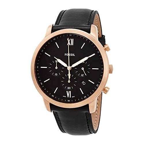 Fossil Men's Neutra Chrono Stainless Steel Quartz Watch with Leather Calfskin Strap, Black, 20 (Model: FS5381) (Fossil Watches Black Leather)