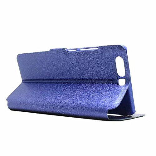 YAJIE-Carcasa Funda Para Huawei P10, color sólido PU cuero con soporte doble ventana abierta patrón de protección de seda (responder o rechazar llamadas sin abrir la tapa) ( Color : Rose ) Blue
