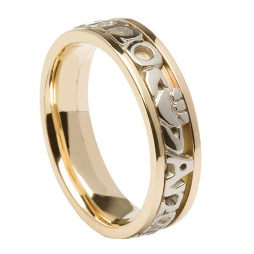 Mens Mo Anam Cara Wedding Band 14k Two Tone Gold Sz 10.5