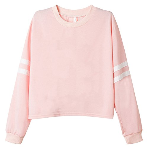 Cropped Womens Pullover (Roshop Women's Cropped Long Sleeve 2 Stripes Print Outwear Sweatshirts (S, Misty Rose))