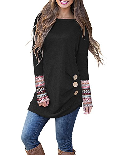 Kilig Women\'s Long Sleeve Round Neck Patchwork Casual Loose