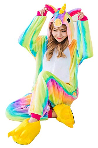 1359e6a450 JYUAN Animal Onesie Pajamas Unicorn Kigurumi Cosplay Costume Cute Sleepwear  For Kids Adults