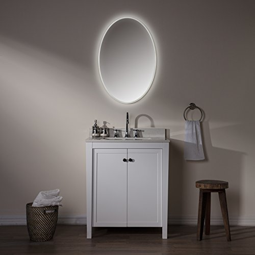 MAYKKE Madison 24'' W x 36'' H Oval LED Mirror, Wall Mounted Lighted Bathroom Vanity Mirror, Frameless Mirror, Horizontal or Vertical Mirror with LED Lighting Border UL Certified, LMA1032401 by Maykke (Image #5)
