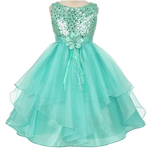 Price comparison product image Big Girls Sequined Bodice Layered Taffeta Organza Flower Girl Dress Tiffany Blue - Size 8
