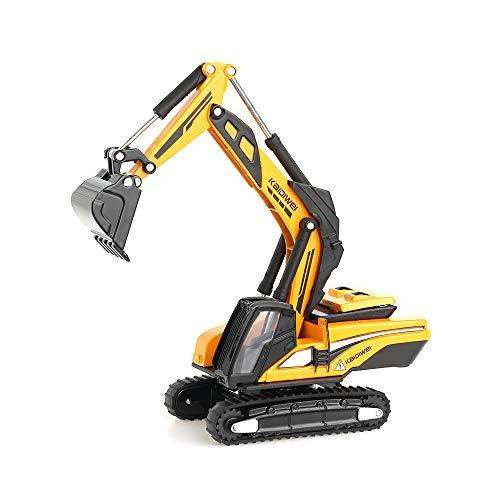 duturpo 1/87 Scale Diecast Mini Excavator, Metal Construction Vehicles Trucks Toys for Boys Kids (Yellow) ()