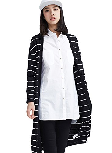 meters-bonwe-womens-striped-open-front-longline-knit-cardigan-with-pockets-blackwhite-m