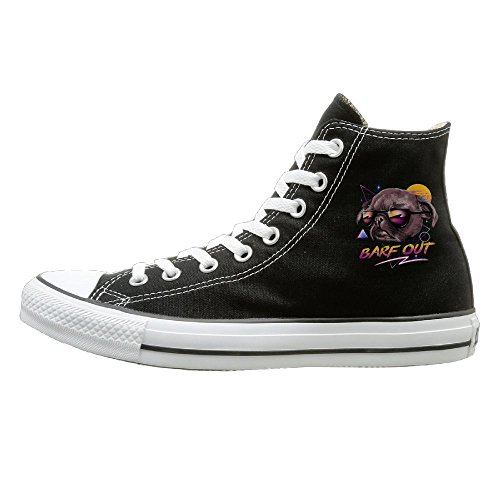 Shenigon Barf Out! Canvas Shoes High Top Casual Black Sneakers Unisex Style 37 -