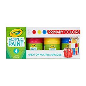 Crayola Acrylic Paint Set in Primary Colors, Multi-Surface Craft Paints, Painting Supplies, 4Count
