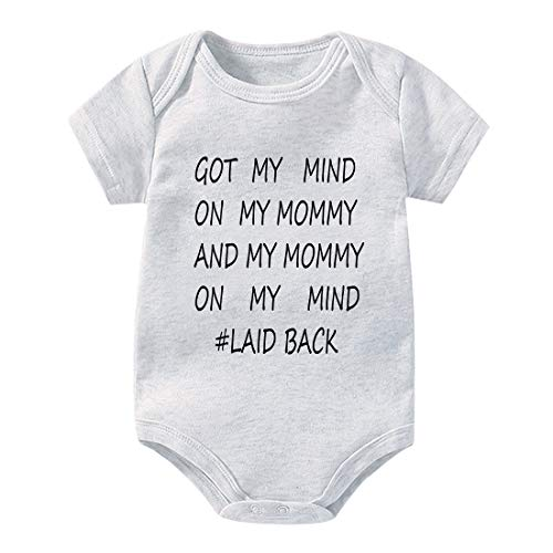 Newborn Baby Boy Girl Clothes GOT My Mind ON My Mommy Funny Bodysuits Cute Rompers Outfits, Infant & Mom Gifts Baby Bodysuit (Grey, 12M)