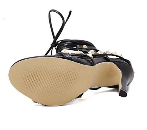 Sandales Ouvert Aiguilles Personnalité Noirs La Femmes Romains Rivets Cheville Bout Chaussures Linyi À Mode Talons Nouveaux Bride Été De xEw448Z