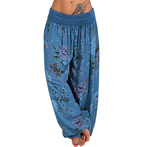 CofeeMO Women's Floral Print Elastic Waist Loose Leg Harem Pants Yoga Pant with Side Pockets(S,Blue)