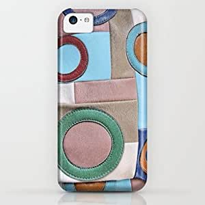 Vintage Colorful Retro Geometric Leather Patchwork iPhone & iphone 5c Case by Detailicious