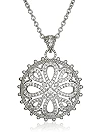 """""""Gramercy"""" Collection Silver Large Love Knot Medallion Necklace"""