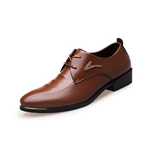 HYLM Los nuevos zapatos de vestir Zapatos casuales de negocios de los hombres Zapatos de encaje punteado Zapatos de boda Zapatos de banquete vestido Brown