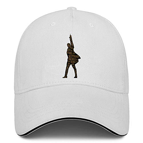 Unisex Classic Baseball Cap Hamilton Sandwich Hat Fits Men Women Hats Adjustable Metal Buckle Back Closure Caps White