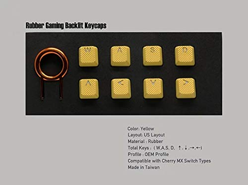 Rubber Gaming Backlit Keycaps Set - 8 Keys Rubberized DoubleShot Key Caps for Cherry MX Mechanical Keyboards Compatible OEM Include Key Puller (Yellow-8 Keys)