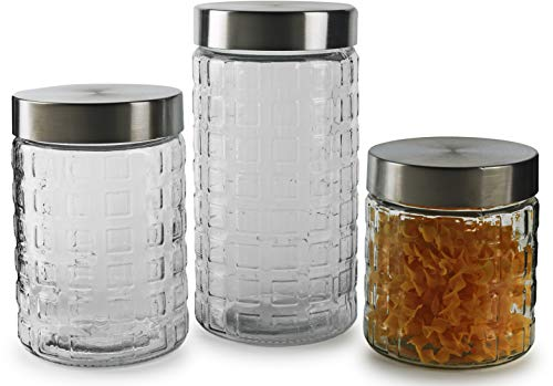 Circleware 68222 Cube-It Glass Block Embossed Canisters with Metal Lids Set of 3 Kitchen Glassware Food Preserving Container for Coffee, Sugar, Tea, Spices, Cereal 57.5 oz, 42.25 oz, 28 oz Clear