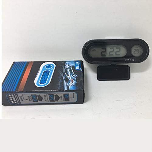 Multifonctionnel petite taille affichage num/érique LCD r/étro-/éclairage bleu horloge de voiture thermom/ètre temps d/étecteur de temp/érature