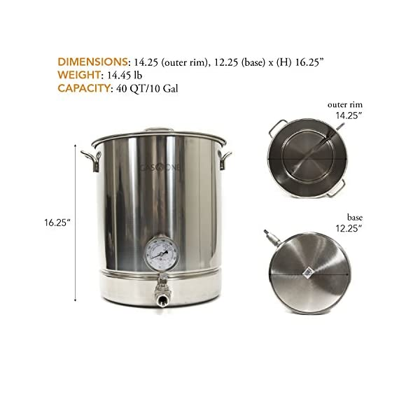 Gas One 10 Gallon Stainless Steel Pot Brew Kettle Set 40 Quart For
