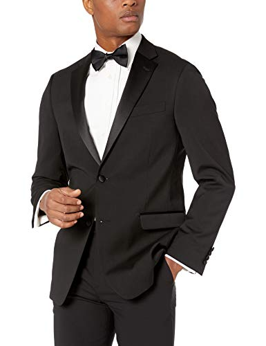 Tommy Hilfiger Men's Big and Tall Modern Fit Wool Blend Tuxedo Separate (Blazer and Pant), Black, 48L