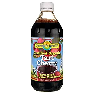 Dynamic Health 100% Pure Organic Certified Tart Cherry Juice Concentrate, 16-Ounce (Packaging May Vary)