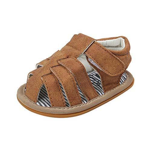 715f82a970d91 Infant Baby Boys Girls Summer Sandals PU Leather Rubber Sole Toddler First  Walker Shoes(0-18 Months)(0-6 Months M US Infant,A-Brown)