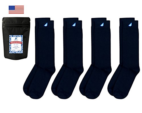Boldfoot Socks Mens Cotton Premium Quality Solid Color Dress Socks Gift 4-Pack,Made in America 8-13 for men (9-15 for women), (Pima Cotton Dress Socks)