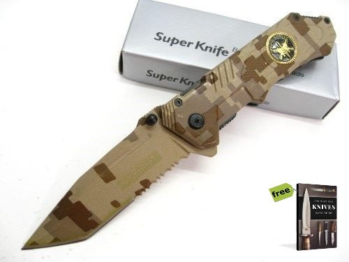 TAC-FORCE Desert Camo Assisted Serrated SPECIAL FORCES SF Tanto Folder Knife + Free eBook by SURVIVAL STEEL
