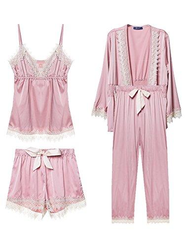 Pajamas for Women Silky Set 4 pcs Silk Satins Lace Sleepwear Thin Sexy Strap Dress Robe Shorts & Pants Home Wear (Pink) ()