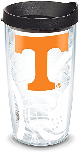 (Tervis 1289460 NCAA Tennessee Volunteers Tumbler with Lid, 16 oz, Clear)