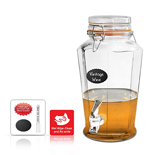 Octagon Glass Beverage Dispenser with Locking Clamp Lid - Gal Glass Jar