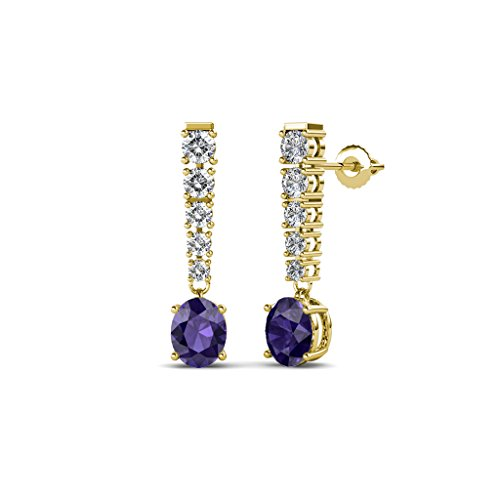 TriJewels Oval Iolite and Diamond Journey Dangling Earrings 1.19 ctw in 14K Yellow Gold