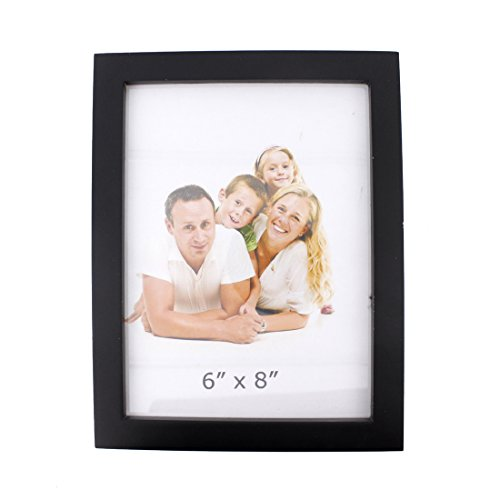 "6x8 Classic Rectangular Wood Desktop Family Picture Photo Frame with Glass Front (6""x8"", Black)"