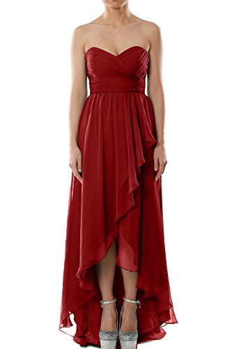 MACloth Women Strapless Chiffon Hi Lo Bridesmaid Dress Wedding Party Formal Gown Burgundy