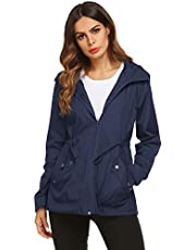 ZHENWEI Rain Jacket Women Waterproof with Lined Raincoat Outdoor Active Travel Hiking