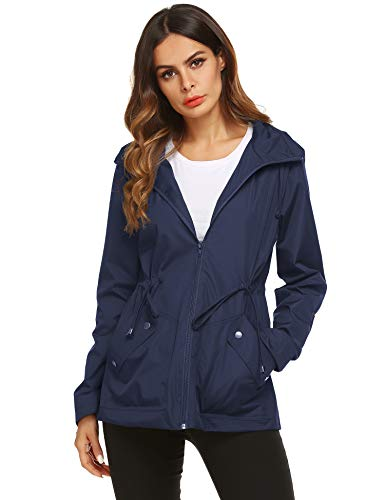 Rain Running Jacket Women Water Repellent Coat Navy Blue Medium