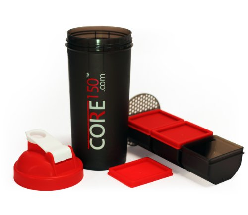 Core150 Red 1 Litre 35oz Shaker Cup with 3 Storage Compartments
