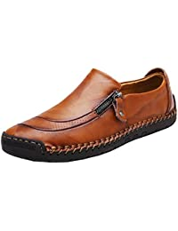 Men's 5709 Black/Light Brown Slip on Leather Fashion Casual Slip-on Flats Driving Loafers Shoes