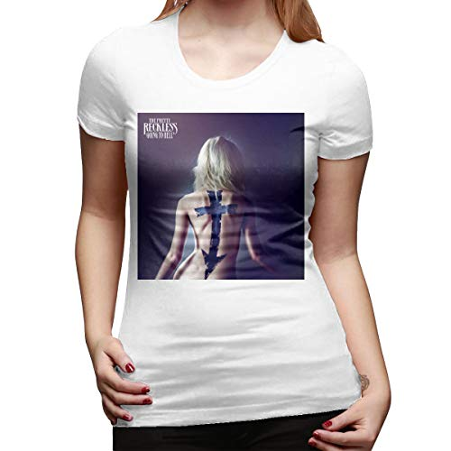 HIPGCC Women's Fashion T Shirt Print with The Pretty Reckless Going to Hell White L Short Sleeve