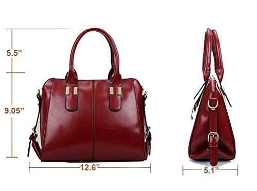 Micom 2015 Women Vogue Wax Leather Hobo Ladies Tote Shoulder Bag Purse Handbag (Dark Blue)