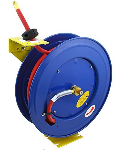 Retractable Air Hose Reel 3/8''x100' Industrial Grade Kink Resistance With USA Made Continental Air Hose Reel by Voyager Tools