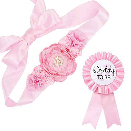 Baby Pink Maternity Sash & Daddy to Be Corsage Set - Baby Shower Sash Baby Girl Pregnancy Sash Keepsake Baby Shower Flower Belly Belt (Daddy To Be Corsage)