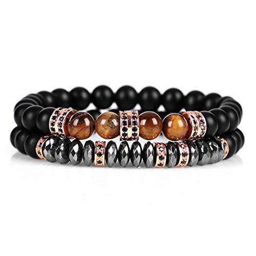 (Handmade 2Pcs\Set Zircon Men Bracelet 8Mm Tiger Eye Beads Bracelet With Hematite Bead Diy Charm Bracelet For Women rose gold)