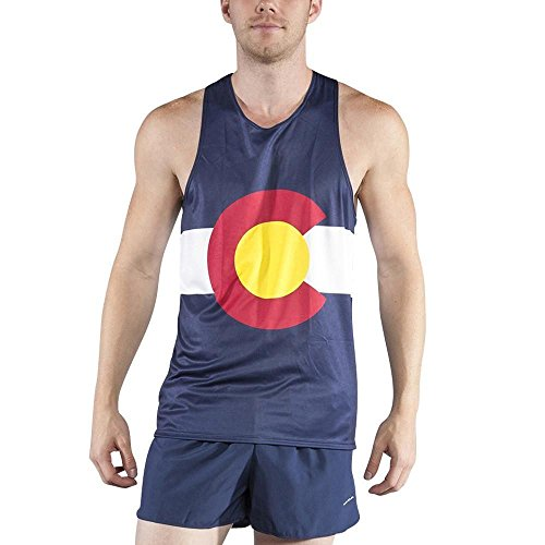 BOA Men's Patriot Print Running Singlet (2600P) (Colorado, Medium)