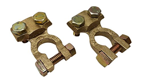 Battery End - Ter-Mex TM9 - 2X Battery Solid Brass Heavy Duty Cable Ends Terminals Top Post Clamps (Pack of 2)