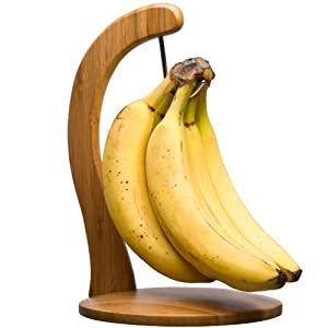 Totally Bamboo Banana Hanger - ♻ 100% Premium Organic Bamboo Stand & Holder w/ Steel Hook. Naturally Ripen & Keep your Bananas Fresh even longer while saving valuable counter spaces!