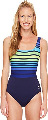 - TYR Women's Ombre Stripe Aqua Control Fit Swimsuit, 24, Navy Green