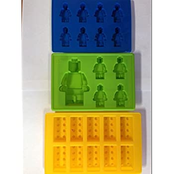 Pack OF 3 Lego Brick and 2 Minifigure Silicone Ice Cube Jelly Chocolate Maker Mold Tray (Ships From USA)