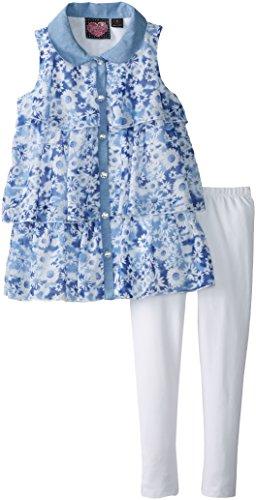 Forever Me Big Girls' Chiffon Tunic Top and Legging Set, Navy, 10